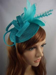 0b26cbc877a2f Image is loading Turquoise-Blue-Sinamay-Hat-Fascinator-with-Feather-Flower-