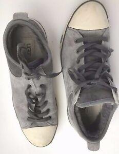 UGG-AUSTRALIA-EVERA-1888-Gray-Suede-Shearling-Lining-Tennis-Sneaker-Women-039-s-9-5