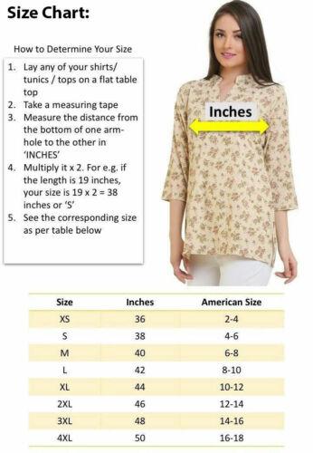 1910-34 Printed Design 3//4 Sleeves women Crape Kurti Tunic tops