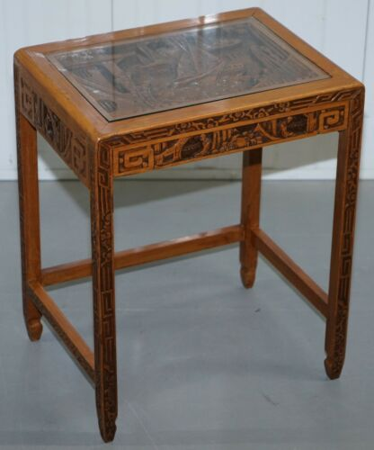 CARVED NEST OF CHINESE TABLES DEPICTING SCENES OF NOBLEMEN DRAGON BOAT FLOWERS