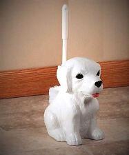 Ceramic DOG Bathroom Toilet Cleaning Brush Holder Pet Animal Decor White Puppy