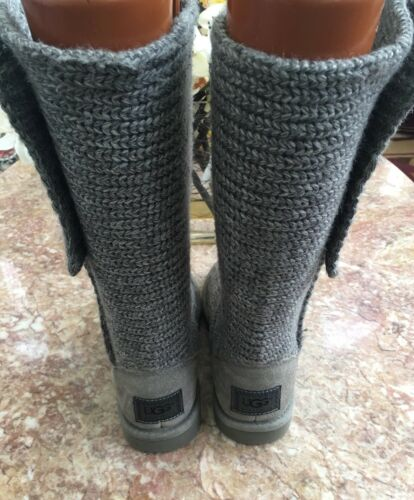 Donna Sz Shearling Boots Grigio Button 5 Sweater 5819 Cardy Australia classico Ugg 5wqFgza
