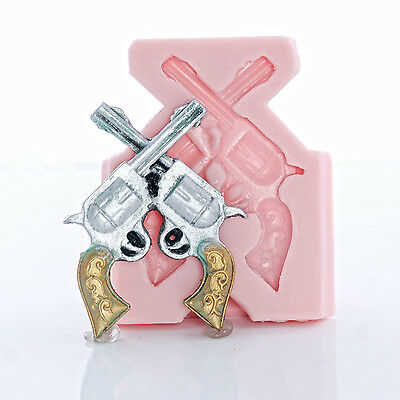 Western pistol silicone mold for jewelry or cupcake toppers 935 easy to use