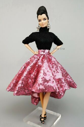 Handmade Dress Outfit Black Jumpsuit Pink Skirt Fit Silkstone Fashion Royalty FR