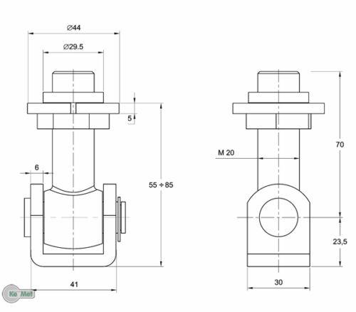 Torangel Torband Einstellbar kurz M 20 zum Anschweissen Torbänder Torscharnier