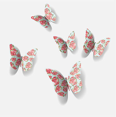 3D Vintage Flower Butterfly Wall Stickers / Wall Decors / Wall Art