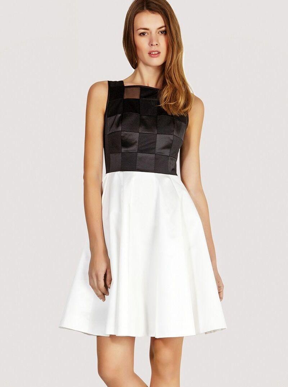 New Karen Millen schwarz & Weiß graphic pattern evening party dress & 14