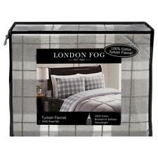 Queen London Fog Printed Turkish Flannel Sheet Set Multi Colored Plaid