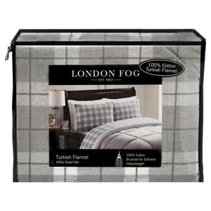 Brand New London Fog Turkish Flannel Twin Sheet Set Gray White Plaid