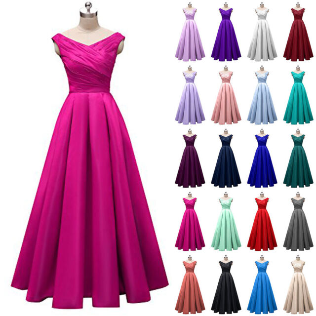 Long Satin Cap Sleeves Bridesmaid Prom Dress Formal Evening Party ...