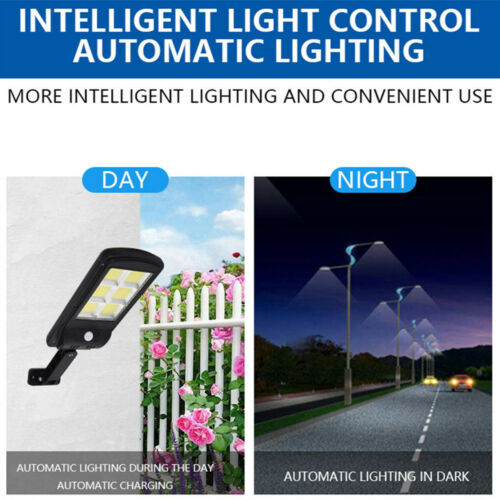 Solar LED Street Light COB Waterproof Sensor Remote Control Wall Road Lamp Light