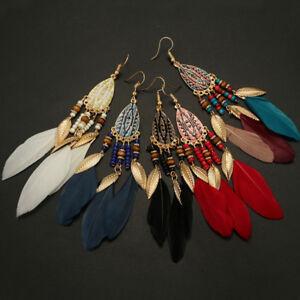 Fashion-Womens-Bohemian-Earrings-Long-Tassel-Fringe-Boho-Feather-Dangle-Jewelry