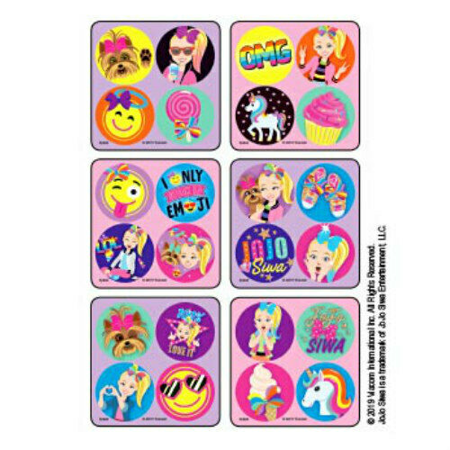 100 JoJo Siwa Bows and Emojis MiniBadges STICKERS Birthday Party Favors Loot Bag
