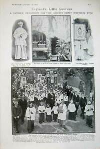 Old-Antique-Print-1908-Catholic-Lady-Lourdes-Grotto-Chapel-Clement-Tyck-20th