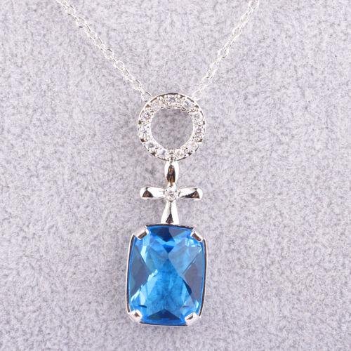 Amatista Rainbow /& Rosado Y Topacio Azul Morganita Granate Joyas Collar De Plata Colgante