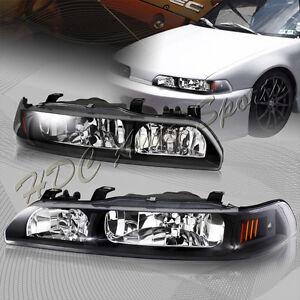 For Acura Integra Black Housing Piece Headlights WAmber - 1991 acura integra headlights
