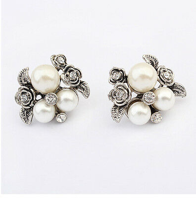 Antique Silver Metal Crystal Flower Leaves White Pearl Beads Ear Stud Earrings