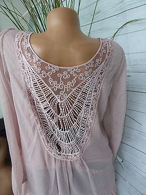 mit Spitze NEU Aniston Chiffon Bluse Tunika Shirt Gr 34-44 Rose 558