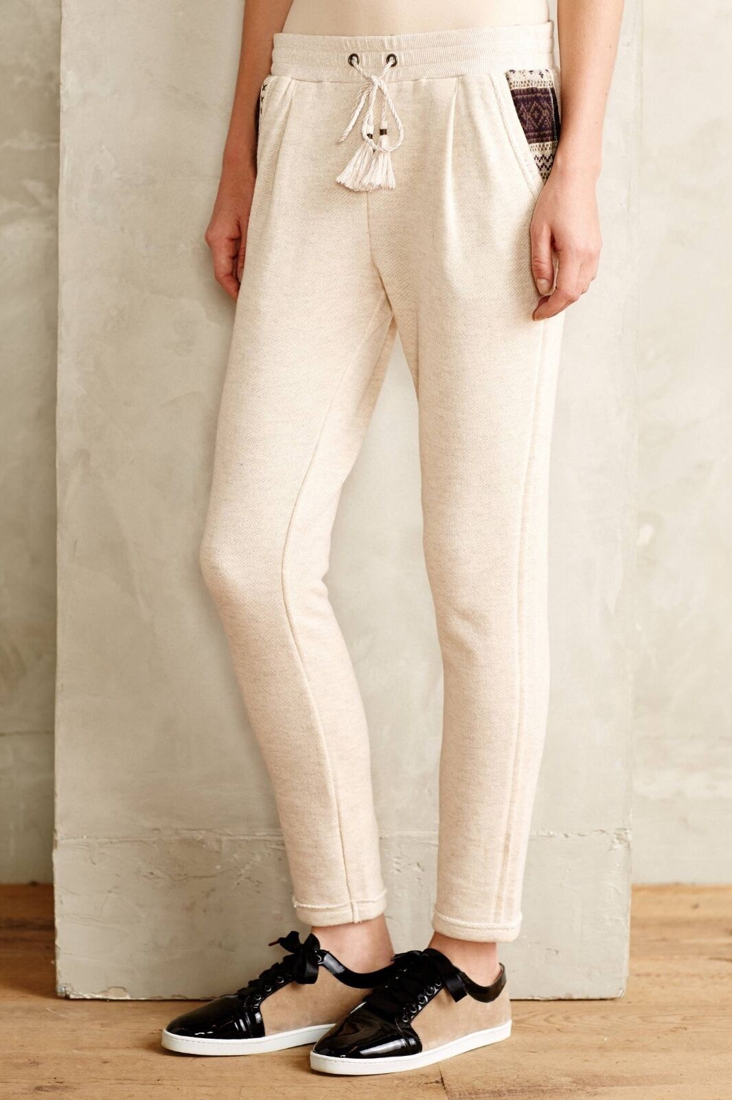 NEW Anthropologie  Lilka Hadley Joggers Pants Cream color  Size L Large
