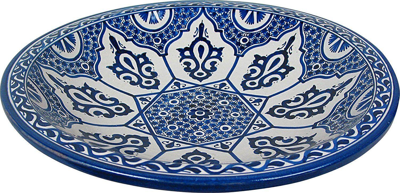 Asila, bleu peint à la Main Marocain Céramique Plaque Plateau de Fès, DI 40