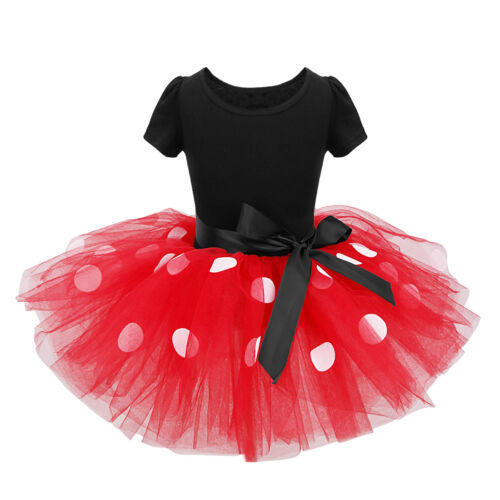 Kid Girl Minnie Mouse Cosplay Fancy Costume Party Ballet Dance Dress w// Ear Head