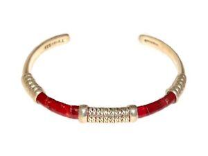 Vintage-925-Mexico-Sterling-Silver-Red-Faux-Snakeskin-23-Gram-Cuff-Bracelet