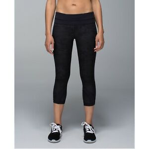 Lululemon Camo Run Inspire Crop II Luxtreme Leggings Black Gray Womens 6