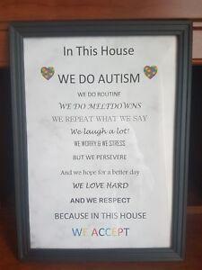 Marque De Tendance Autism Awareness Wall Art Cadre-afficher Le Titre D'origine
