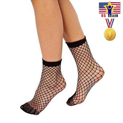 Woman Fishnet Ankle Socks Sheer Girl Fashion Sexy Stocking Hosiery Mesh Black