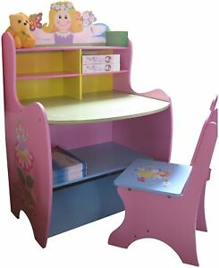 Childrens Desk Chair Wooden Writing Storage Fairy Bedroom Furniture
