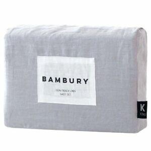 Bambury French Linen Sheet Set Silver