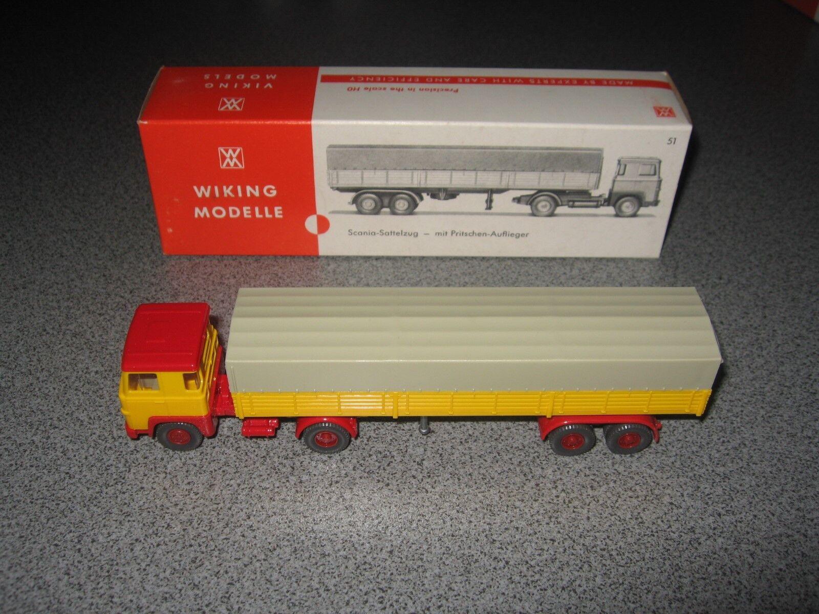 Wiking Scania 110 Pritschensattelzug gelb  | Vorzugspreis
