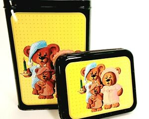 Nighttime Teddy Bear Family Collectible Tin Vintage 1987 Parco Foods Canister
