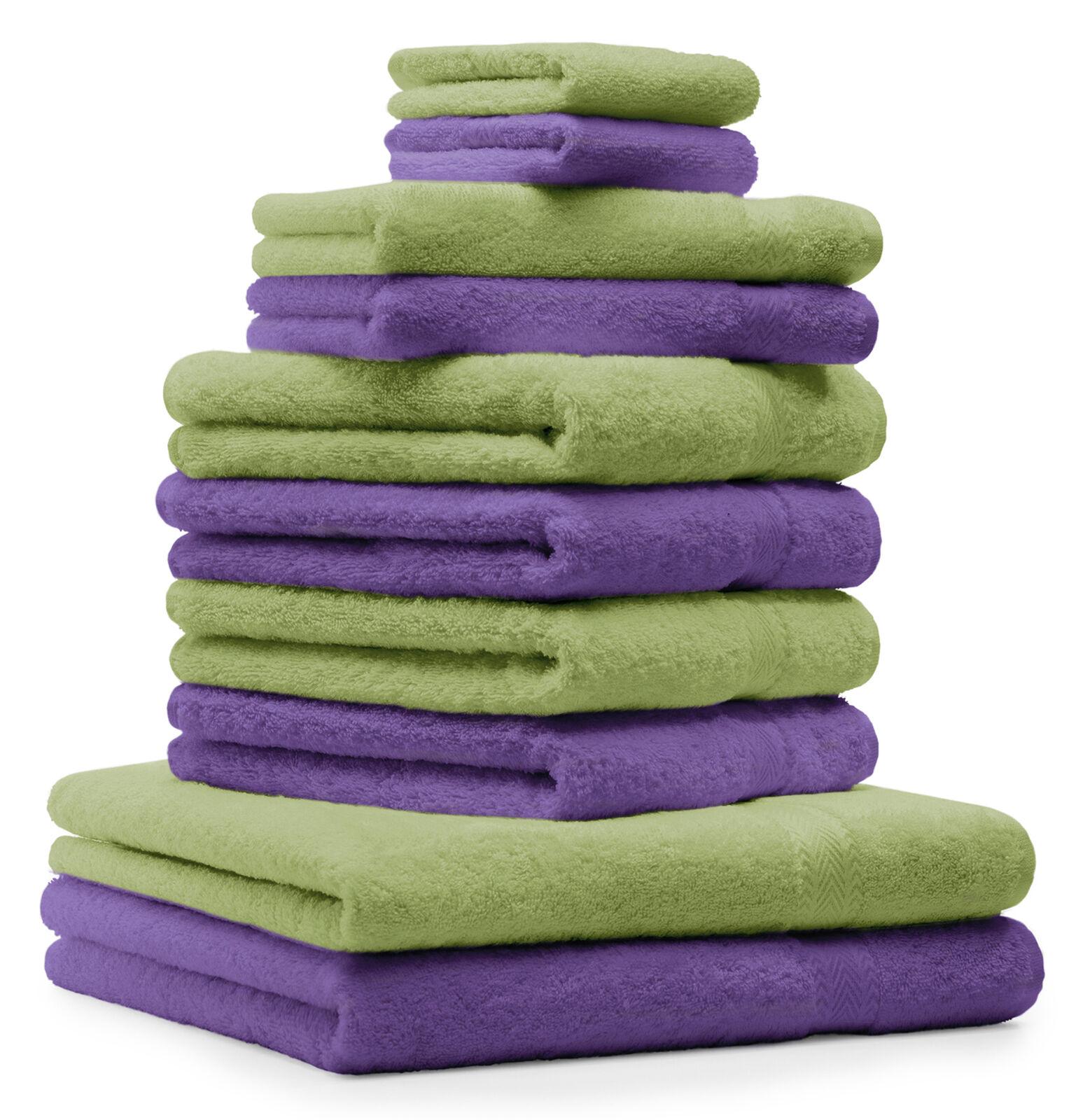 Betz 10-tlg. Handtuch Set Classic Farbe Apfel-Grün & Lila     | Kompletter Spezifikationsbereich
