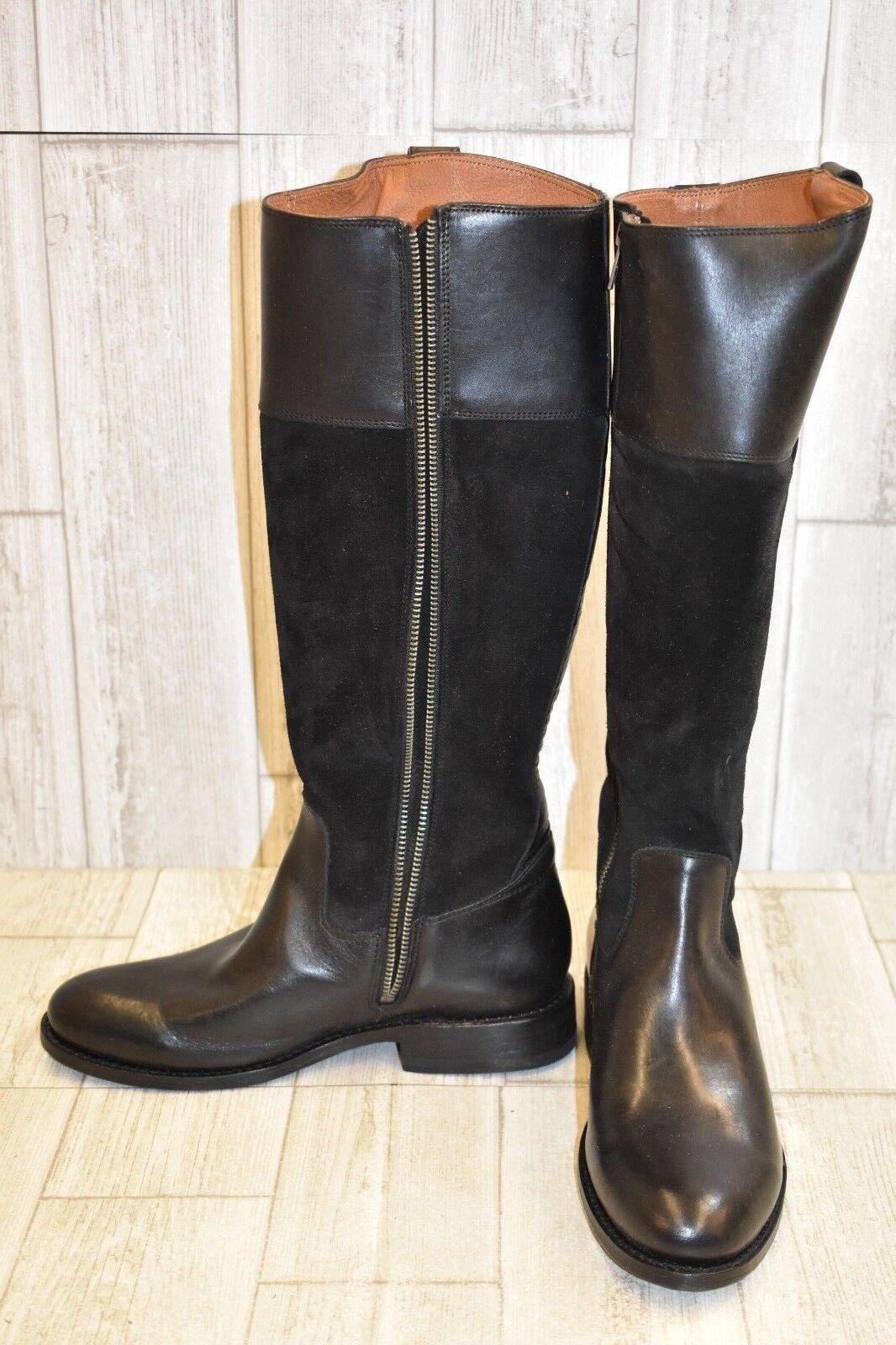 Frye Jayden botón Suede & Leather botas botas botas Altas, para mujer Talla 8B, Negro dañado 2e5d24