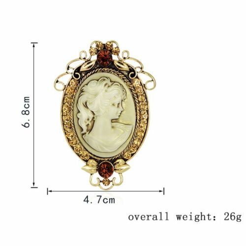 Retro Beauty Face Flower Crystal Cameo Brooch Pin Bouquet Wedding Party Gift