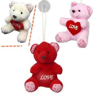 Plush Valentines Bear W Window Hanging Suction Cup Wholesale Pack