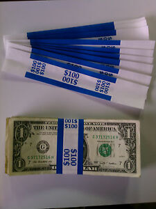 Straps Money 100/'s $10,000 Denomination 250 New Self-Sealing Currency Bands
