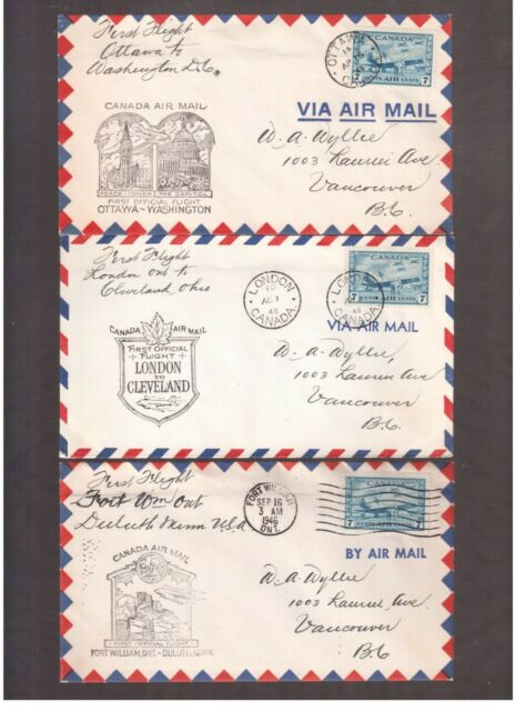 CANADA 1946 LOT OF 9 FIRST FLIGHT COVERS !!   2