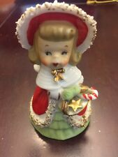 """Vintage 1950's Lefton Christmas Angel Bell Holding Candy Cane & Gold Star 4 1/4"""""""