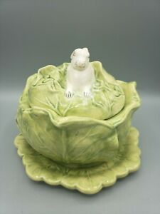 Cabbage Bowl Bunny Covered Dish Ceramic Pottery Lettuce Easter Signed Vtg 1980