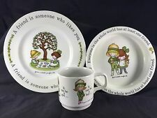 "VTG 70's Johnson Br Joan Walsh Anglund Bowl & Cup & Plate  ""A FRIEND"" in box"