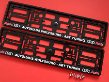 2x Audi Color ABT TUNING Number Plate Surrounds Holders Frame For Cars + Screw