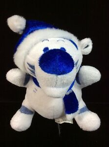 "Disney Store Blue White Plush Tigger Scarf Hat Soft Toy 5"" Christmas Stuffed"