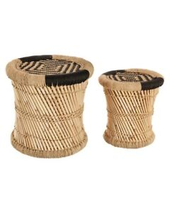 Lot-de-2-tables-basses-gigognes-en-corde-et-bambou-Noires