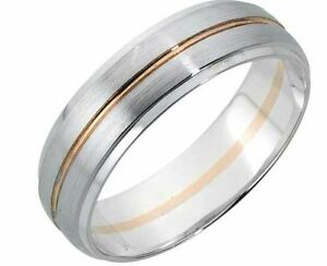 9ct-Blanco-Y-Rosa-Oro-5mm-Talla-Diamante-Alianza-Talla-O-Contraste
