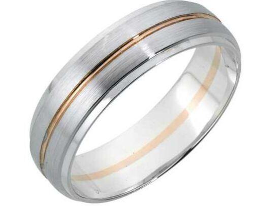9ct 5mm Blanco Y Rosa Oro Diamante Corte Anillo De Bodas Tamaño o caracteriza