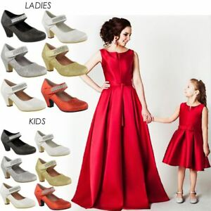 ca2a9730145 Girls Kids Ladies Low Mid Heel Party Wedding Mary Jane Style Sandals ...
