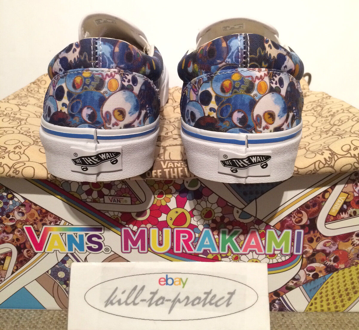 Vans x SZ takashi murakami bleu crâne SZ x nous UK6 7 8 9 10 11 classic slip on 2015 d92817