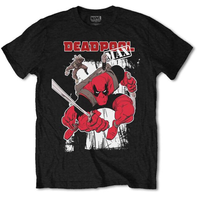marvel comics maglietta Deadpool ufficiale max cotone nero mens